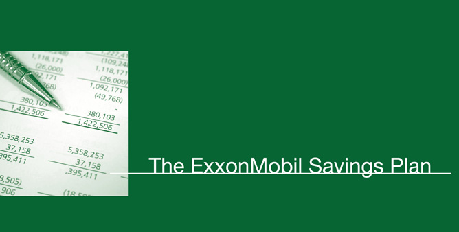 ExxonMobil Login Image: Blue background with tip of pen laying at angle on white square with math numbers, Text: The ExxonMobil Savings Plan